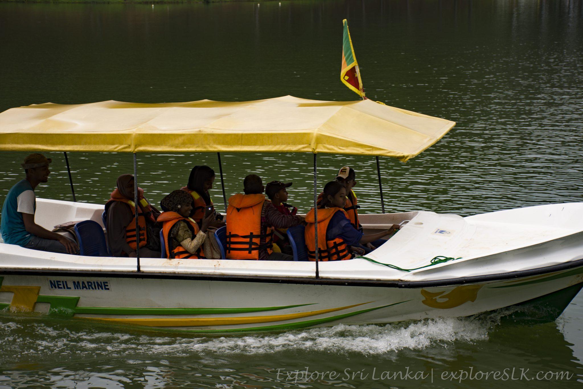 Boat rinding on lake