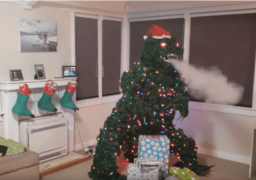 Treezilla, a smoke-breathing Godzilla Christmas tree