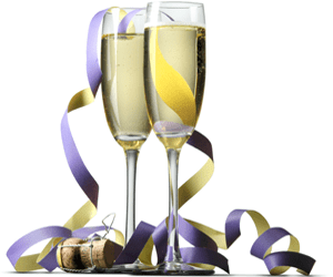 Champagne flutes and ribbons
