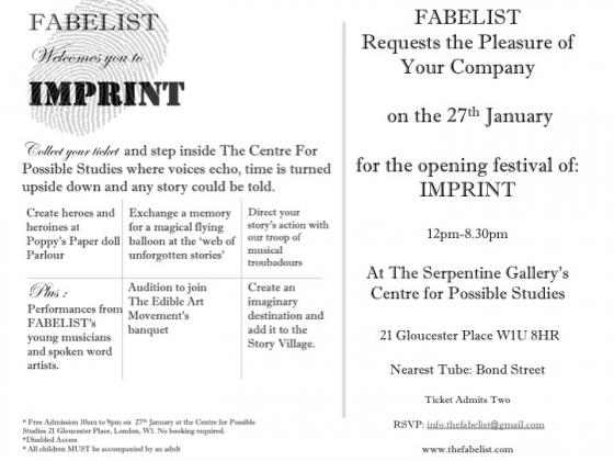 Your invite to IMPRINT, 27 Jan