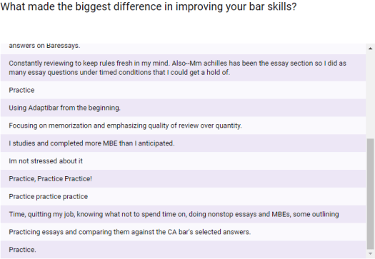 "What made the biggest difference in improving your bar skills? What's the one non-negotiable bar exam study strategy? ""Practice"""