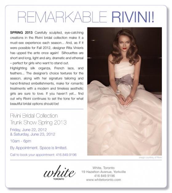 White Toronto Rivini Trunkshow
