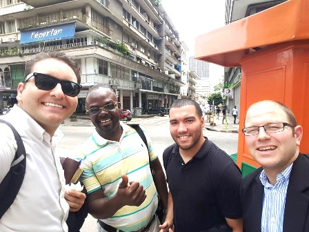 On the streets of Abidjan, Anthony (second from the right) hangs with Jonathan of LA, Lola of Kinshasa and Jacques of London!