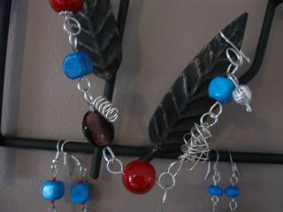 """Grantham Blue"" charm bracelet and 2 pairs of earrings"
