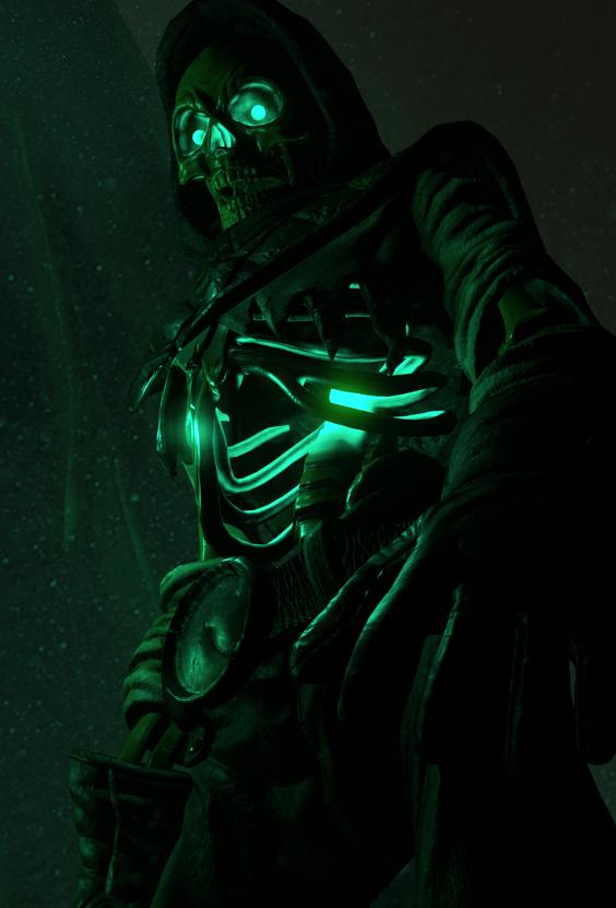 Skeleton image showing burning mana