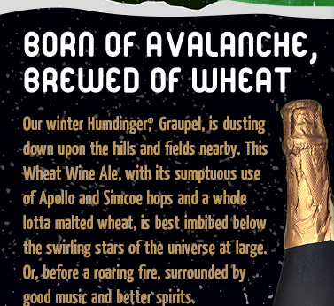 Born of Avalanche, Brewed of Wheat - Our winter Humdinger(R), Graupel, is dusting down upon the hills and fields nearby.
