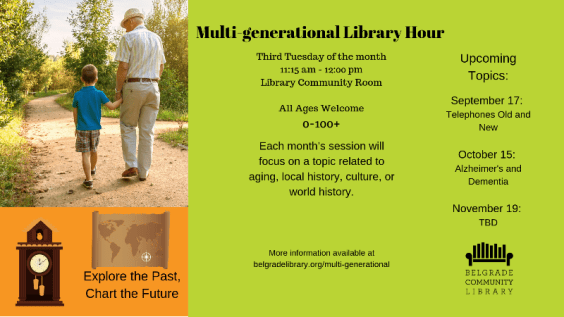 Multi-generational library hour information