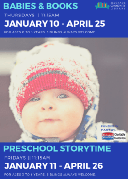 Winter babies & books (Thursdays) and Preschool Storytime flyer (Fridays)