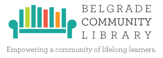 Belgrade Library logo and mission statement: empowering a community of lifelong learners