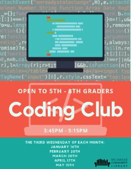 Coding Club flyer - third Wednesdays