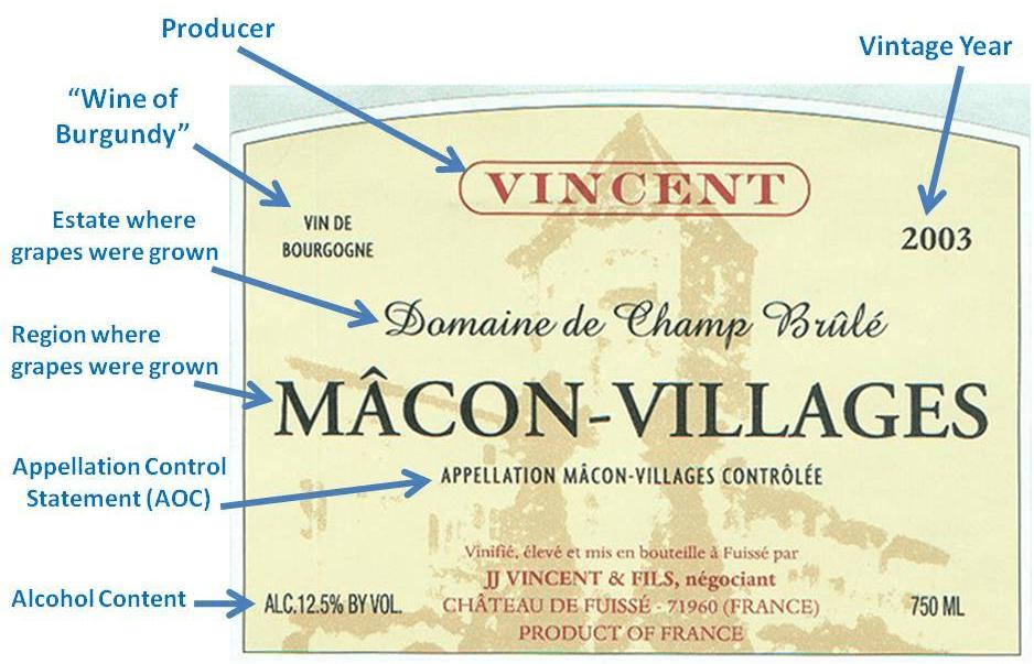 Burgundy Wine Label