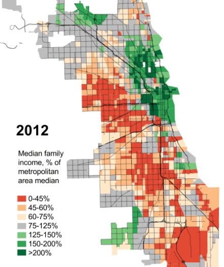 Chicago median incomes, 2012
