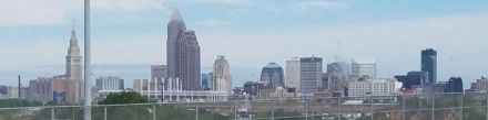 Cleveland skyline from the megabus