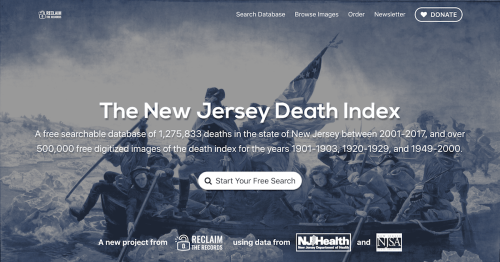 Screenshot of the New Jersey Death Index website