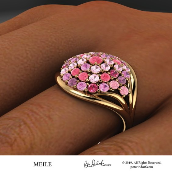Multi-color sapphire, pink tourmaline, spinel and pink diamonds bead set in a 18KYG dome ring.