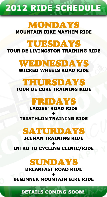 Hometown Cycling 2012 Ride Schedule