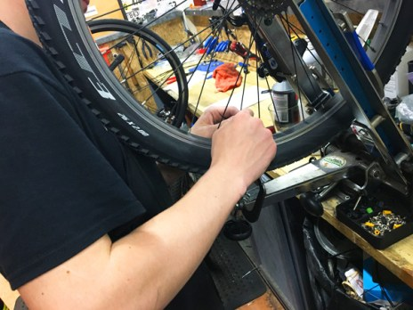 Wheel true at Hometown Bicycles Service Shop