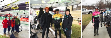 Team Hometown Bicycles with the Team tent at Barry-Roubaix Killer Gravel Road Race, including Team riders Rex Blair, Jim Cleer, Brian Forhan, and Deb Godmer