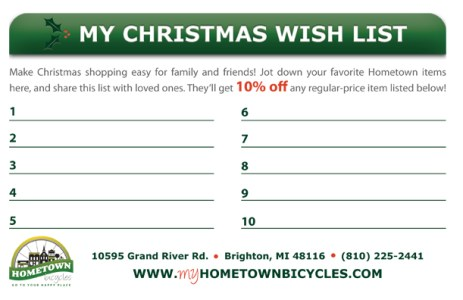 Hometown Bicycles Christmas Wish List