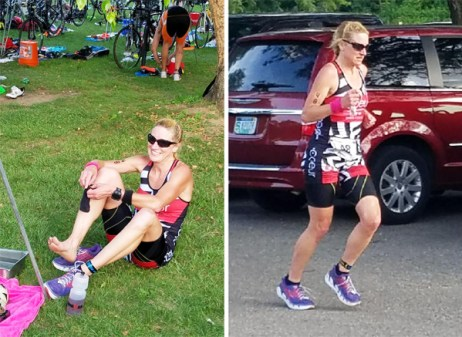 Hometown Bicycles' Amy Gluck competing in the Island Lake Pterodactyl Triathlon