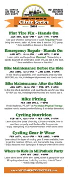 Hometown Bicycles 2018 Winter Clinic Schedule