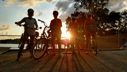 Hometown Bicycles womens road ride at Island Lake during sunset