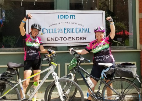Team Hometown Bicycles' Sue Charleville and Margaret Bigham Cycle the Erie Canal