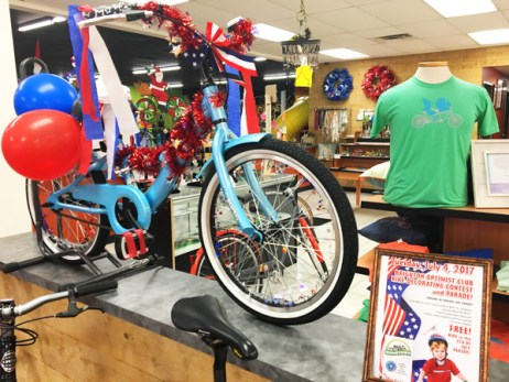 Patriotic red, white, and blue decorated bike for Brighton Optimist Club 4th of July Parade Bike Decorating Contest