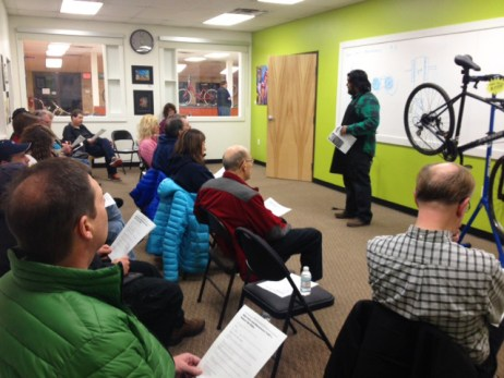 Shaun teaches a bike clinic at Hometown Bicycles
