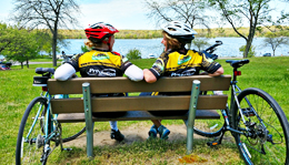 Team Hometown Bicycles riders relaxing after a ride at Kensington Metropark