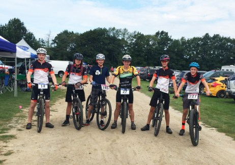 Hometown Bicycles Service Crew racing in the MiSCA interscholastic cycling series