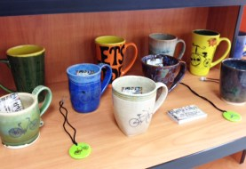 Hand thrown and hand painted mugs by Marlas Mud at Hometown Bicycles