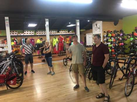 Team Hometown Bicycles preps for video footage for FHL Bank
