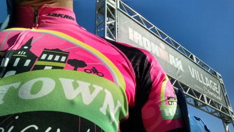 Team Hometown Bicycles pink jersey at Ironman Louisville