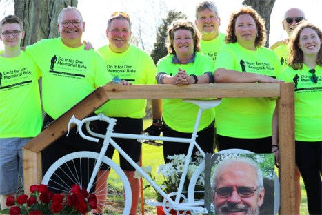 The Horal Family with the Daniel J. Horal Ghost Bike Memorial at the Do It for Dan Memorial Ride