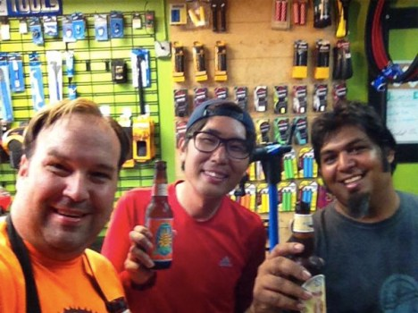Chuck stops at Hometown Bicycles on his bicycle trip across North America