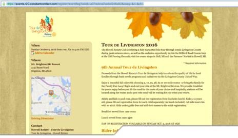 Tour de Livingston 2016 Registration web page