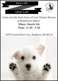 Save a Life, Adopt a Pet - Come see the furry faces of Last Chance Rescue at Hometown Bicycles