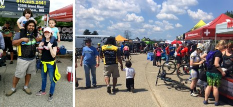Hometown Bicycles' Shaun and Dawn Bhajan with family at 2018 Island Lake Spring Bike Demo Day, hosted by MCMBA
