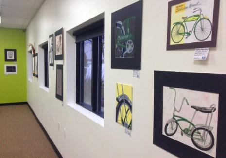 Brighton High School student bicycle art display at Hometown Bicycles