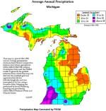 Michigan Average Annual Precipitation map