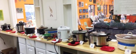 Crockpots full of delicious chili at Hometown Bicycles Fall Extravaganza Chili Cook Off