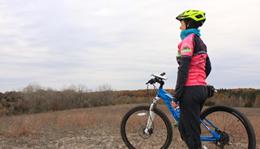 Hometown Bicycles Ride Coordinator Laura Faunce winter mountain biking at Island Lake