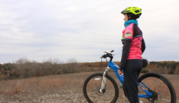 Hometown Bicycles Ride Coordinator Laura Faunce winter mountain biking at Island Lake