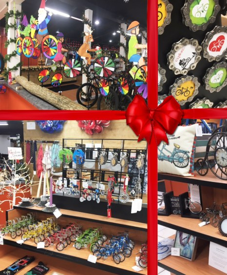 Christmas gift ideas for cyclists at Hometown Bicycles including bike ornaments, bike toys, bike garden spinners, bike magnets, and bike decor