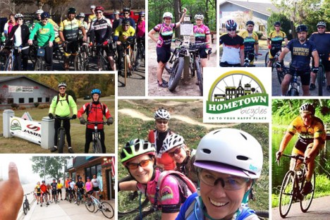 Collage of Hometown Bicycles rides