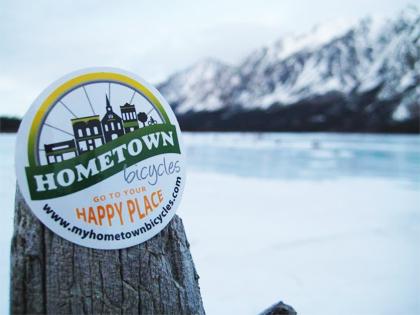 Hometown Bicycles sticker in Alaskan wilderness