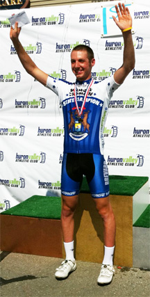 Hometown's Scott Hoffner takes the Cat 3 State Championship at the 2011 Milford Criterium