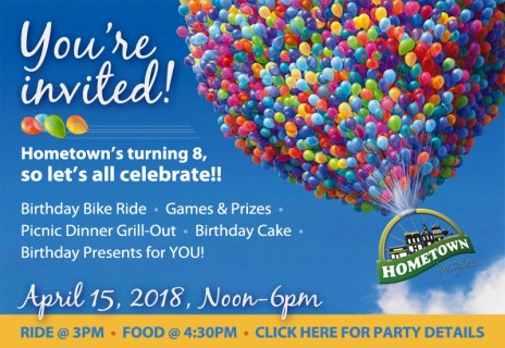 Hometown Bicycles 8th Birthday Party Invitation
