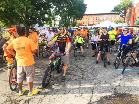 Team Hometown Bicycles led off the Doc May Melon Memorial Ride at Howell's Annual Melon Festival